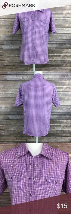 Purple plaid short sleeve button up Purple plaid short sleeve button up. Snap buttons. Wrancher by wrangler. Size and materials tag has been cut off. I think it is a size large. Wrangler Tops Button Down Shirts