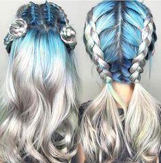 Blue and silver dyed hair