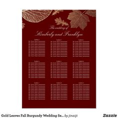 Gold Leaves Fall Burgundy Wedding Seating Chart
