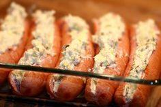 Fylld, gratinerad frukostkorv & potatismos Sausage Recipes, Baby Food Recipes, Pasta Recipes, Dessert For Dinner, Dessert Drinks, Parmesan, Recipe For Mom, Feta, Super Simple