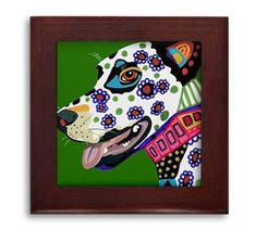 Dalmatian Lovers Gift Dog Folk Art Ceramic Framed Tile by Heather Galler - Ready To Hang Tile Frame Gift