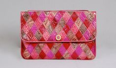 Exotic Leather Vintage 80s Fuchsia Pink 100% Snakeskin Leather Clutch// 1980s Snakeskin Patchwork Leather Large Clutch by vdpshop on Etsy