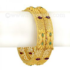 Designer bangles in 22k Gold #bangles (kadas) with #24k matte #finish, studded with ruby and emerald stones, secures with a hinge opening, available in set of two. - See more at: https://www.rajjewels.com/22k-gold-bangles-49330.html#sthash.CLb5HdbZ.dpuf