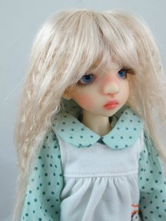 Monique J-ROCK Wig White Blonde Size 7-8 MSD BJD shown on Ruby by Liz Frost
