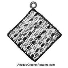 Reversible Potholder - free pattern for crocheting a reversible potholder.