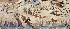 東王公 莫高窟第249窟頂 北披 西魏 壁畫下部為山林狩獵圖。有連綿的山巒,樹木叢生的林中有各式動物,包括遊食的野豬群、驚悸的野羊、驚逃的野牛、兇殘的狼;中央有騎士追刺黃羊和急轉身軀張弓射虎的狩獵場面,畫面生動傳神,是敦煌早期動物畫的代表傑作。