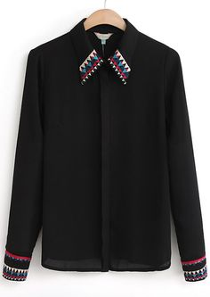 Black Lapel Long Sleeve Embroidered Chiffon Blouse