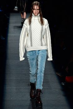 Alexander Wang - Fall 2015 Ready-to-Wear - Light Velvet Denim Effect Pants & Studded Cable Knit Turtle Neck - Look 25 of 44 *TREND*
