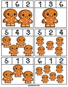 Gingerbread Man Counting Clip Cards - Activities For Toddlers With Autism                                                                                                                                                                                 More