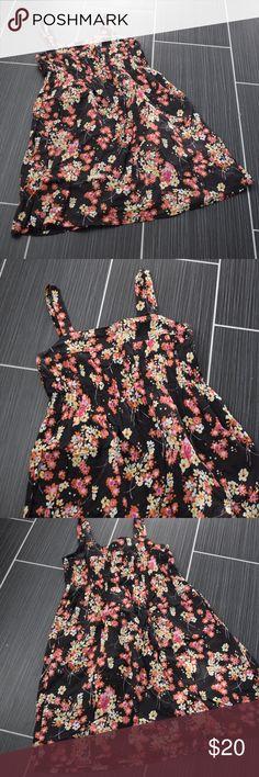 """GAP Brown Floral Cotton Sun Dress Size 12 Gap Sun Dress Size 12 38"""" Bust 32"""" Waist 38"""" Long Lined Side Zip GAP Dresses"""