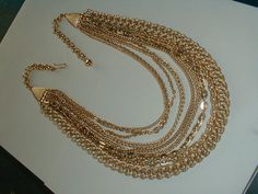 vintage west germany gold plated 9 strand bib by fadedglitter42263, $48.00