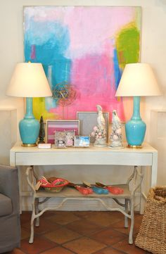 Pastel Spitzmiller lamps and Leslie Milsten art at Palm Beach Mecox #interiordesign #home #decor #design #MecoxGardens