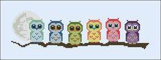 Cute Little Owls on a  branch  PDF cross stich pattern