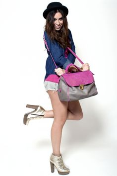 https://www.cityblis.com/7451/item/7757  Glitter Schioc Bag - $322 by Les Envers  Schioc_Bag grey leather stitching and contrasts are fuchsia glitter color. Light gold datails.   MEASURES:  Width: 33 cm  Depth: 21 cm  Height: 24 cm  Handle height: 14 cm  Removable shoulder strap.   Lining in black canvas. inside pocket and phone case are in leather.   ART-CRAFT MAD...