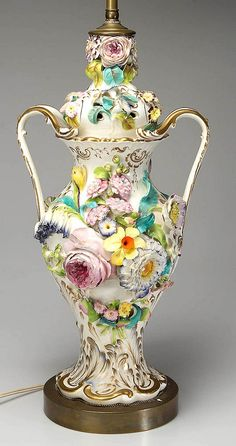 ENGLISH STAFFORDSHIRE PORCELAIN COALBROOKDALE-TYPE VASE, large, floral-encrusted baluster-form with high-domed cover, with two arching handles to the sides of the body, now mounted as a lamp.