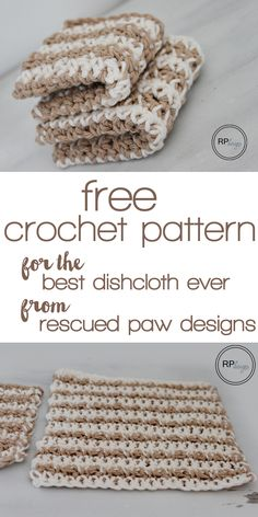Free crochet pattern for the best textured dishcloth ever from Rescued Paw Designs ༺✿ƬⱤღ✿༻