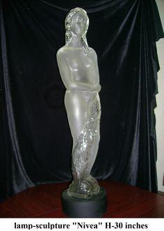 "Glass Lamp - sculpture ""Nivea"""