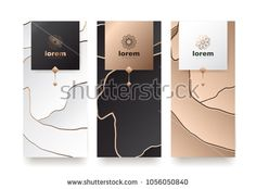Vector set packaging templates with different texture for luxury products.logo design with trendy linear style. Different Textures, Royalty Free Stock Photos, Logo Design, Packaging, Place Card Holders, Templates, Luxury, Illustration, Image