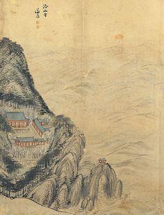 (Korea) Naksansa Temple by Jeong Seon ca century CE. colors on paper. Korean Painting, Chinese Painting, Chinese Art, Korean Artist, Asian Art, 18th Century, Landscape Paintings, Folk, Japanese