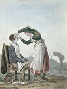 A collier having a shave by Antoine Charles Horace Vernet