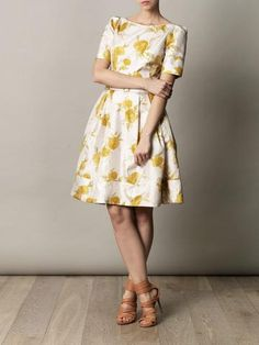 Spring Dress Yellow and White, knee length, great for a bridal shower or reception. Very 50s style casual.