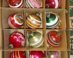 Christmas Ornaments Vintage Glass Shiny Brite made in USA