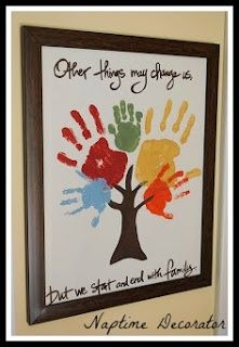"""Kids handprint craft """"Other things may change us, but we start and end with family."""""""