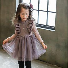 New Fashion Ruffles Kids Girls Party Dress Ruffles Pink and Purple Cotton Party Dress 5pcs/lot Wholesale
