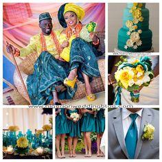 Nigerian wedding: Dark Teal, cream & canary yellow wedding color combination