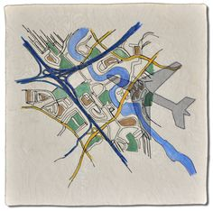 Flight Path map quilt by by Diane Perin Hock. Twelve by Twelve art quilt challenge.