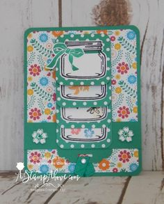 Stampin' Up! Waterfall card with jar of love