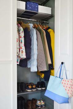 front hall closet organization, small closet ideas, entryway closet #homeorganization #closetorganizing #organizing