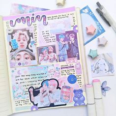K-pop music is more popular than ever. If you're looking for a little inspiration, I'm sharing 30 K-pop inspired bullet journal spreads. Bullet Journal Essentials, Bullet Journal Cover Ideas, Bullet Journal Notes, Bullet Journal Aesthetic, Bullet Journal Writing, Bullet Journal Spread, Bullet Journal Ideas Pages, Bullet Journal Inspiration, Music Journal