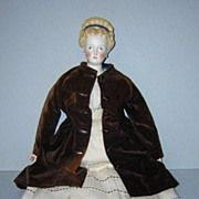 """8"""" Picardie Amiens c1850 FRENCH PAPIER-MÂCHÉ Early Doll All-Original Costume"""
