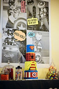 superhero poster with kid pictures Also- The cake is awesome- I wish it were Batman or Flash instead of Robin but still cool