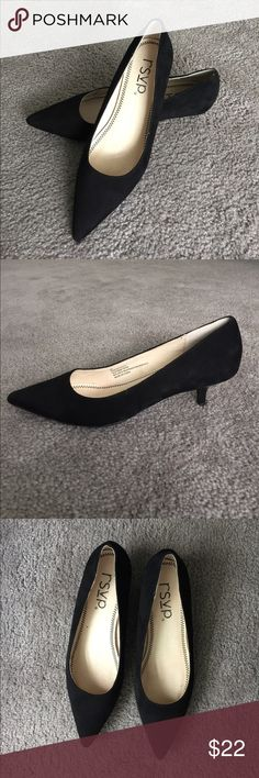 RSVP kitten heel black suede shoes Elegant and comfortable kitten heel shoes in great condition. Look stunning with flare pants or jeans. Perfect for office and running around in style  rsvp Shoes Heels