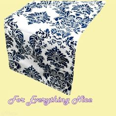Navy White Damask Flocking Taffeta Wedding Table Runners Decorations x 25 For Hire by JRMB7339 - $150.00