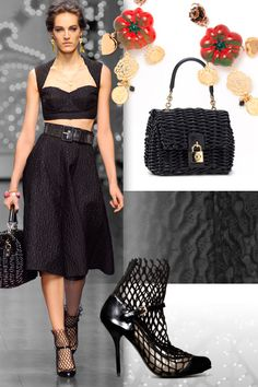 dolce and gabbana womenswear collection: black sicilian bra & full skirt and dolce bag