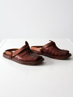 vintage leather sandals 1970s men s huaraches size by IronCharlie Vintage  Leather dacb85e7b