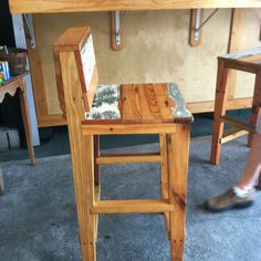 Recycled wood bar stools