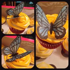 Made with rica paper all edible Butterfly Cupcakes, Sweets, Cookies, Paper, Desserts, Food, Crack Crackers, Tailgate Desserts, Gummi Candy