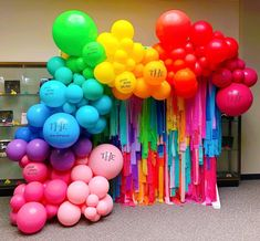 Such a pleasure to craft this balloon and tassel backdrop for book signing hosted by 🌈 Clea &… Candy Theme Birthday Party, Trolls Birthday Party, Fiesta Theme Party, Rainbow Birthday, Birthday Balloons, Rainbow Party Decorations, Balloon Decorations, Birthday Party Decorations, Balloon Ideas