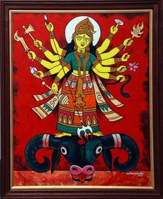 Exhibition of paintings at Galerie La Mere by various artists. Durga Maa Paintings, Durga Painting, Lord Ganesha Paintings, Indian Art Paintings, Madhubani Art, Madhubani Painting, Bengali Art, Indian Folk Art, Hindu Art