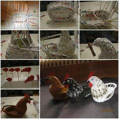 DIY Woven Paper Chicken Easter Basket