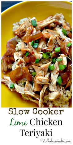 Slow Cooker Lime Teriyaki Chicken. Prep time is less than 5 minutes with this simple and delicious recipe!