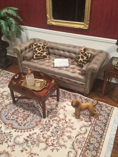 Dollhouse Miniature Artisan Signed Gail Steffey Chesterfield Leather Sofa OOAK