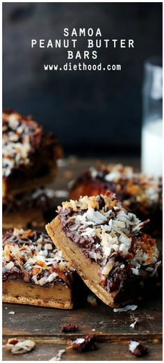 Incredibly delicious Peanut Butter Bars topped with all the sweet Samoa cookie fixings!