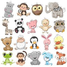 123RF - Millions of Creative Stock Photos, Vectors, Videos and Music Files For Your Inspiration and Projects. Cartoon Elephant, Owl Cartoon, Cute Cartoon Animals, Baby Cartoon, Baby Animals, Cute Animals, Baby Animal Drawings, Cartoon Drawings, Cute Drawings