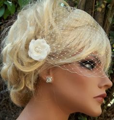 Bridal Veil bandeau style ivory french net with by kathyjohnson3, $38.00