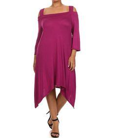 Dark Pink Sidetail Cutout Dress - Plus